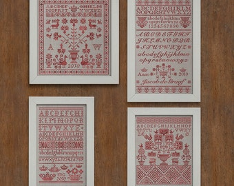 PDF 4 Pack Four Letters from the North cross stitch patterns by Modern Folk at thecottageneedle.com monochromatic samplers