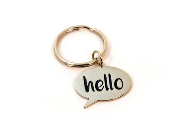Hello Zipper Pull - Hello Keychain - Speech Bubble Charm - Cute Birthday Gift for Teens - Say Hello World Key Chain - Ready to Ship