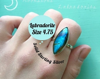 Gemstone Blue Labradorite Marquise Ring in Solid Sterling Silver Size 4.75 band Bright Blue Flash (exact item shown) made in the USA