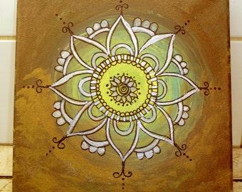 "Handpainted mandala  painting, spiritual art, mandala art, Menhdi flower pattern ornamnet -"" FOREST"""