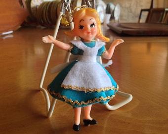 Vintage Flocked Disney Character Alice Ornament