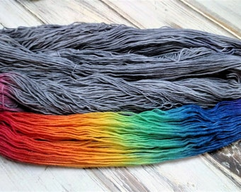 MTO Made To Order After the Storm Gray Grey Rainbow Yarn Superwash Merino Wool Baby Alpaca Yak Sock Sparkle DK Worsted Licorice Twist