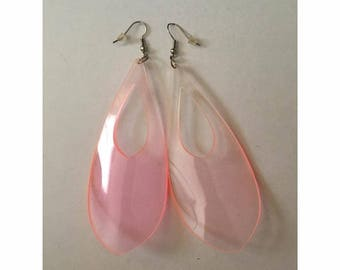 Awesome Pink See Through Dangle Earrings