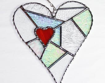 Stained Glass Suncatcher - Heart Abstract with Clear Textured Glass, Pick Your Color, Valentine's Day Gift