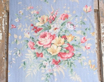 Vintage Sky Blue Nubby Floral Cabbage Roses Vintage Barkcloth Fabric Drape Panel Curtain