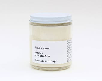 Candle, soy wax candle, hand-poured, soy candle, a lot like love, gift candle, sweet scent