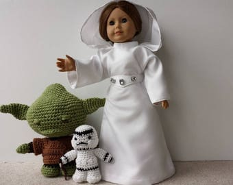 "Princess Leia, Costume, Fully Lined Senatorial Gown & Boots, Star Wars Inspired, Handmade to Fit 18"" Dolls"