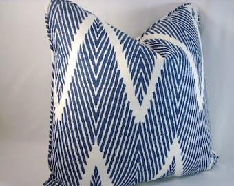 Bali Chevron Pillow Chevron Pillow Navy Accent Pillow 18x18 Pillow Cover