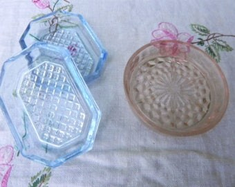 Trio of Petite Colored Glass Dishes