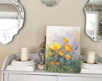 Vintage Beautiful California Poppy Canvas Oil Painting Poppies
