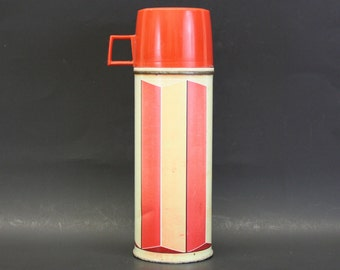 Vintage 1974 King-Seeley Red and Tan Striped Thermos (E7955)