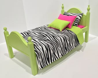 American Girl Doll:  Furniture, lime green bed and bedding
