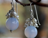 sterling silver blue chalcedony freshwater pearl earrings with handmade sterling french ear wire