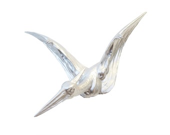 Pterodactyl Wall Mount - Metallic Silver - Dinosaur Faux Taxidermy PTER10