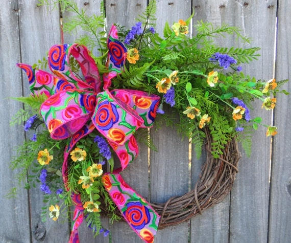 Spring Summer Wreath, Wreath Spring and Summer, Bohemian Wreath with Bright Colors, Crewel Style Ribbon, Fern and Blooms Artificial Wreath