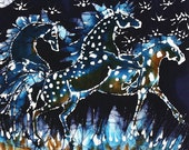 """Horses Frolic on a Starry Night - 8"""" x 12""""  fabric swatch from original batik  Quilting"""