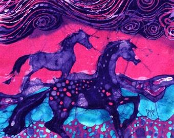 Painted Ponies Below the Wind   -  batik print from original