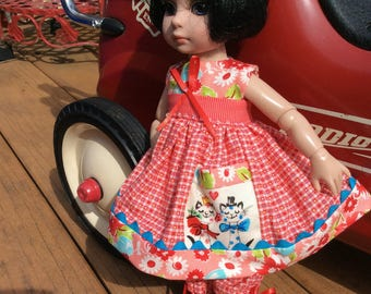 "Polka dot kitty cats pocket, 10"" doll clothes, Tonner, Patsy"