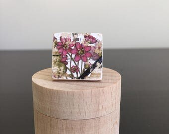 Ring Flower boho ring cottage chic ring pink ring statement ring scrabble tile ring flower girl ring square ring
