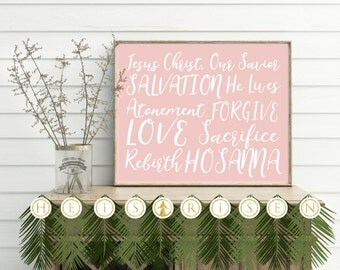 Small Easter Banner, He is Risen, Palm Branch Banner, 8.5x11 US LetterSize paper