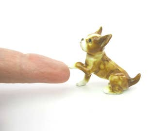 Boxer Dog Figure. Miniature Puppy Dog. Mini Seated Animal Figurine. Hand Painted Ceramic. Made in Japan Vintage 1950s Collectible
