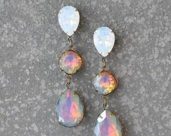 SALE Opal Rainbow Earrings Swarovski Crystal White Jewel Tone Rainbow White Opal Large Rhinestone Earrings Fiesta Sparklers Mashugana