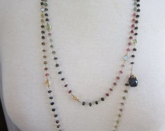 Multi Gemstone Necklace with Antique Shoe Button, Layering Necklace, Long Necklace, Two Girls Gems