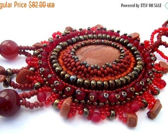 SALE Bead embroidered pendant, Beaded jewelry, Beadwork necklace, Seed bead necklace, Unique gifts