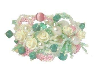 Spring bracelet floral bracelet womens bracelet beaded bracelet beaded jewelry pastel bracelet spring jewelry freeform beadwork
