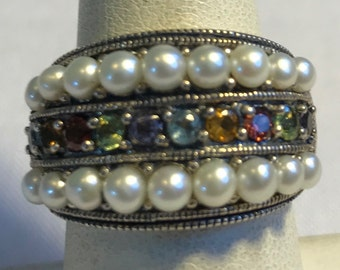 Sterling Silver Multi Stone Pearl Ring-Size 7
