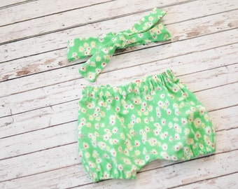 Baby and Toddler Bloomers Shorts Diaper Cover and Matching Headband Set in Green Floral Vintage-Inspired