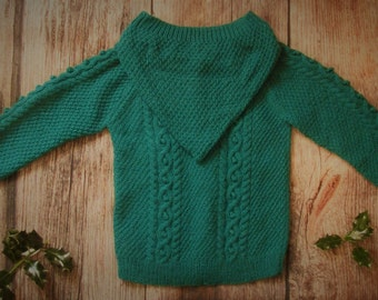 Hand knitted toddler boy girl jumper hoodie aran cable long sweater jacket with hood, teal green children's handmade cardigan OOAK