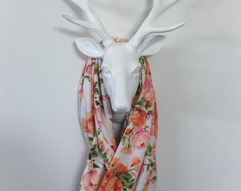 Infinity Scarf - Peach & Pink Rose Floral - Cotton Jersey Blend Knit