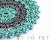 70% OFF SALE Earrings- Handmade Bohemian Crochet Turquoise Beaded Statement Circle Dangle Tribal Earrings, Geometric Fabric Jewelry