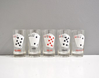 Vintage Playing Card Tumblers - Mid-Century Barware