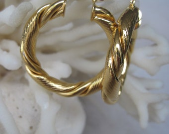 Bold and Thick in Yellow Gold Twisted Hoop Earrings