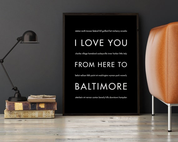 Baltimore maryland travel art i love you from here to baltimore
