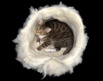 Cruelty Free, White Navajo Churro, Wool Fleece, Cat Bed, Cat Basket, Cat Cradle, Cat Cave, Felted Pet Bed, Dog Basket, Natural, Cat Nest