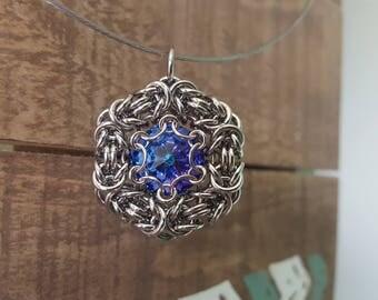 Chainmaille Pendant - Stainless Steel Byzantine weave with Sapphire Blue Swarovski Rivoli