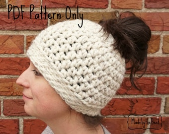 Messy Bun Hat Crochet Pattern - Ponytail Hat Pattern - Crochet Messy Bun Pattern - Messy Bun Hat Pattern - Messy Bun Hat - Crochet Messy Bun