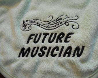 Bibs, Future Musician Bib, Treble Clef Music Bib, Made To Order Bib, Baby Shower Gift, Music Notes, Musician