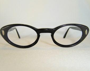 Vintage '50's B&L USA Cateye Eyeglasses, Black w/Silver Accents, Plastic