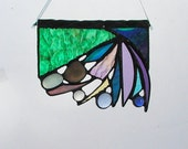 Beach Abstract, Suncatcher, Seashell,  Stained Glass, Decorative, Art & Collectibles, Glass Art, Window Decor, Colorful Abstract, Handmade