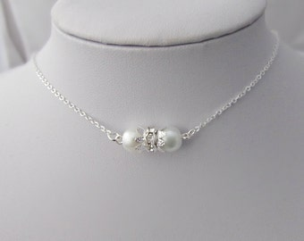 Pearl Necklace, Pearl and Rhinestone Necklace, Bridesmaid Gifts, UK Seller, Bridesmaid Necklace, Gifts for Bridesmaids, Flower Girl Gifts