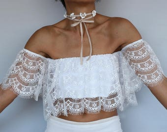 Bridal Eyelash Lace Blouse Wedding Top, Gown Separate Boho Top Wear, Off-White Cream Lace, Romantic Summer Wedding Wear Boho Fashion