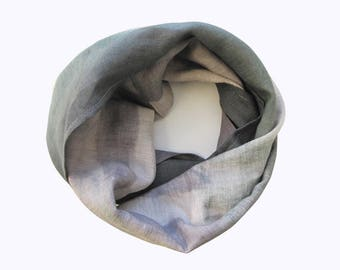 Natural Linen Scarf Infinity Scarf Tube Scarf Hand-dyed Scarf Spring Scarf