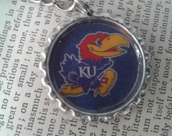 KU Jayhawks Key Chain - Bottle Cap College Logo Kansas University Jayhawks