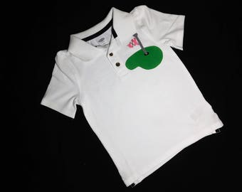 Golf shirt - Front and back -Girl or boy white  polo golf SHIRT Masters with pink and gray argyle flag applique and DADDY'S CADDY on back