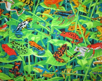 Jungle Frog Natural Leaves Cotton Fabric Fat Quarter Or Custom Listing
