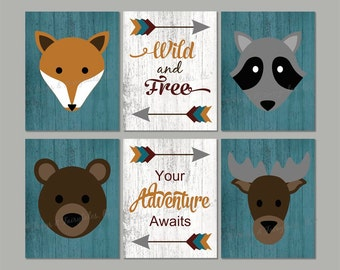 Woodland Animals Tribal Canvas Wall Art Set